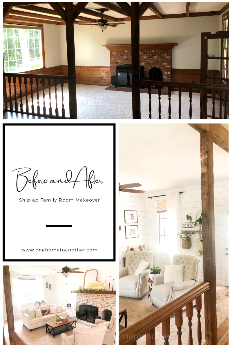 shiplap family room makeover